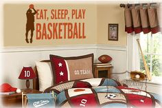 Eat, Sleep, Play, Basketball vinyl wall lettering decal with Basketball player silhouette vinyl wall decal - Choose two vinyl colors via Etsy