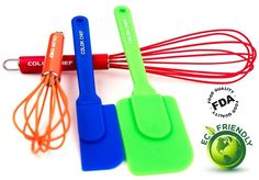 4 Piece Silicone Cookware Set Color Chef Kitchen Utensils Baking Whisk Spatula