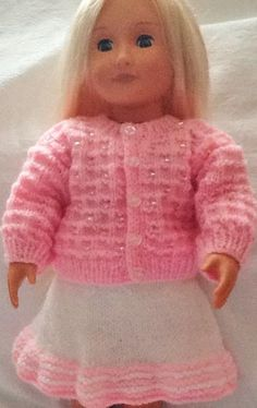 Looking for your next project? You're going to love Beaded cardigan and skirt 18 inch Doll by designer Seasonknits.