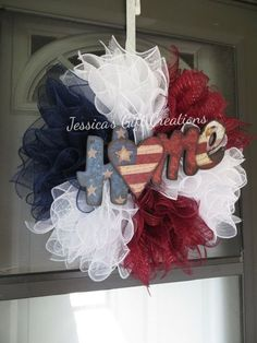 Made to Order Patriotic Wreath / July / Veterans Day / America / Red, White and Blue / Welcome / Daily / Front Door Wreath / Military Family Patriotic Wreath, Patriotic Crafts, Patriotic Decorations, July Crafts, Front Door Decor, Wreaths For Front Door, Door Wreaths, Burlap Wreaths, Fourth Of July Decor