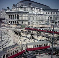 1010 Wien, Bau Opernpassage 1955 #JPseins Bonde, Austro Hungarian, Vienna Austria, European Travel, Public Transport, Budapest, Travel Photos, Cali, Old Things