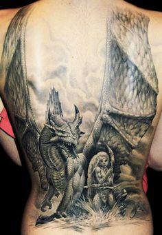 Large dragon back piece by James Tattoo Art #InkedMagazine #inked #dragon #tattoo #tattoos