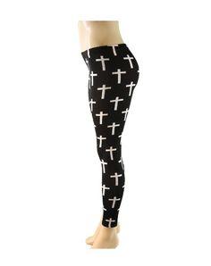 White on Black Cross Print Stretch Tight Fit Leggings - http://cheune.com/a/78193066269159313