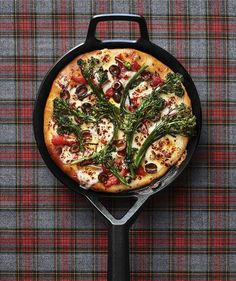 Broccolini and Olive Skillet Pizza | The perfect way to utilize those remaining tomatoes and greens from your garden. Feel free to improvise with the toppings!