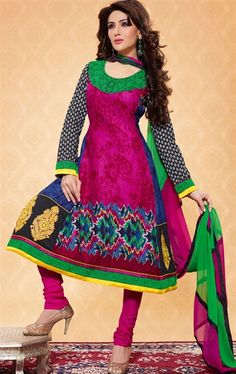 Picture of Unique Black, Pink and Steel Blue Casual Salwar Kameez