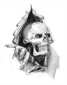 Tattoo's For> Coole Schädel Tattoos Designs – Neuta Tattoo Modelle Creepy Drawings, Dark Art Drawings, Skull Drawings, Tattoo Design Drawings, Skull Tattoo Design, Tattoo Sketches, Arte Horror, Horror Art, Horror Drawing