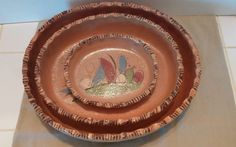 ;D 3 Piece Old Tlaquepaque Mexico Pottery Oval Nesting Dishes Grooved Edge Mexican  #Pottery