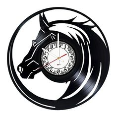 BorschToday Horse Gift Vinyl Record Wall Clock - Get Unique Home Room or Living Room Wall Decor - Gift Ideas for Parents, Mother and Father ?