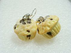Chocolate Chip Muffin Earrings Polymer Clay by GiraffesKiss, £7.50