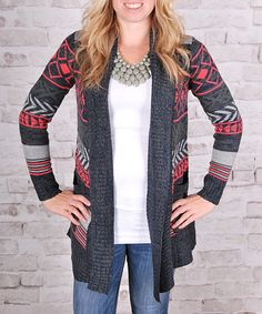 This Navy & Coral Geo-Stripe Mohair-Blend Open Cardigan is perfect! #zulilyfinds