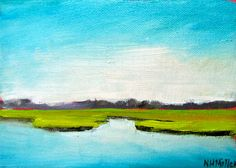 Turquoise chartreuse painting Blue Green by NancyHughesMiller, $85.00