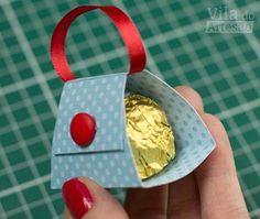 Como fazer um porta bombom mini bolsa de papel decorado Mais