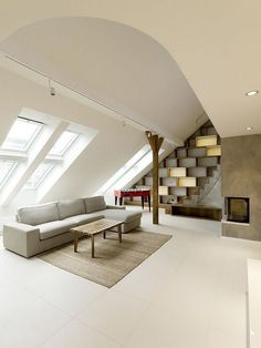 I love loft and attic. (Rounded Loft in Prague by Architects Attic Loft, Attic Rooms, Attic Spaces, Attic Office, Attic Bathroom, Attic Library, Garage Attic, Attic House, Attic Ladder