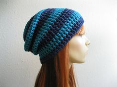 Crocheted Slouchy Beanie Turquoise and Navy by yarnmeditations