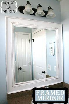 DIY framed mirror tutorial using baseboard materials.