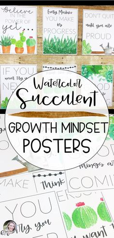 Add these watercolor succulent growth mindset posters to your bulletin board or frame theme to decorate your classroom and inspire your students!