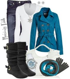 turquoise, black & white fall winter outfit