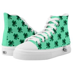 New! Beautiful Emerald Green Sparkles Shamrock Clover turquoise ZIPZ® High Top Shoes by #PLdesign #StPatricksDay #StPatricksGift