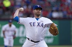 Texas Rangers starting pitcher Colby Lewis (48) pitches against the Toronto Blue Jays during the first inning at Globe Life Park in Arlington on May 14, 2016. Jerome Miron-USA TODAY Sports