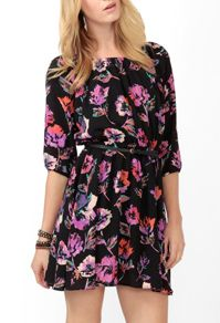 Abstract Floral Dress w/ Belt at Forever 21