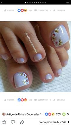 Cute Nail Art Designs, Pedicure Designs, Pedicure Nail Art, Toe Nail Designs, Toe Nail Art, Toe Nails, Acrylic Nails, Kathy Nails, Nail Decorations