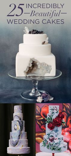 25 Incredibly Beautiful Wedding Cakes That Won Ohhhhh my goodness. The geode crystal cake is to DIE for. Beautiful Wedding Cakes, Gorgeous Cakes, Pretty Cakes, Amazing Cakes, Cupcakes, Cupcake Cakes, Geometric Cake, Geode Cake, Bolo Cake