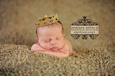 Royal Jewels - Handcrafted Boy or Girl Gold Lace Crown - Perfect Newborn Photo Prop. $12.95, via Etsy.