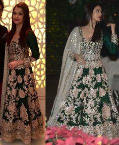 Indiantrend - Aishwarya Rai Green Color Silk Bollywood Salwar Suit
