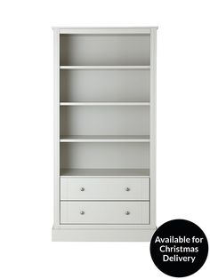 Consort Dover Ready Assembled 2 Drawer Storage Bookcase in Grey Ready assembled for a style you'll be able to admire right away, this bookcase from Consort's Dover collection in finished in a smart grey tone that will help the colours of your walls and decorative pieces (not to mention your collection of paperbacks!) really pop. Sitting on a chunky plinth that gives it a substantial appearance, its four shelves offer lots of room for everything from cookbooks and novels to DVDs and…