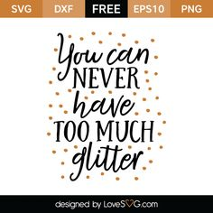 *** FREE SVG CUT FILE for Cricut, Silhouette and more *** You can never have too much glitter