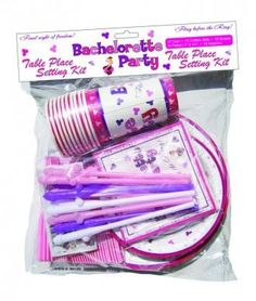 Bachelorette Party Table Place Setting Kit Final night of freedom! Fling Before The Ring! Bachelorette Party Table Place Setting service for ten. Kit contains: 10 cups, 10 straws, 10 7 inches plates, 10 10 inches plates and 10 napkins. Adult theme party supplies.  Bachelorette Party Table Place Setting Kit from Hott Products Unlimited. Colors may vary.