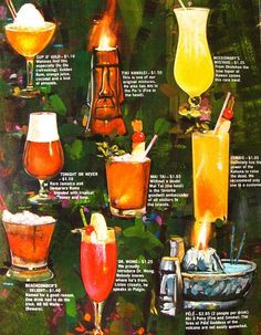 Old Tiki bar cocktail menu. Strong Alcoholic Drinks, Strong Drinks, Alcoholic Cocktails, Drinks Alcohol, Vintage Tiki, Vintage Menu, Vintage Hawaiian, Vintage Decor, Country Home Decorating