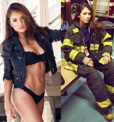 Ripped rounded plump ass fitness big breasted woman looking at herself in the mirrir in sexy bikini swimwear. Female Firefighter, Look Plus Size, Female Soldier, Army Soldier, Girls Uniforms, Military Uniforms, Military Girl, Military Women, Gorgeous Women