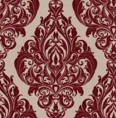Kinky Vintage (50-222) - Laurence Llewelyn Bowen Wallpapers - An elegant Damask design in dark red flock on metallic gold - other colour ways available. Please request a sample for true colour match. Paste-the-wall product.