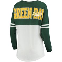 Women s Green Bay Packers 5th   Ocean by New Era Green White Throwback  Spirit Long Sleeve T-Shirt 84da5244190