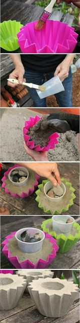DIY Concrete Planters Fun, easy, and inexpensive hobby ideas. Day of the dead planters. You can find how to make…Concrete Eggssmall concrete planter Diy Concrete Planters, Concrete Crafts, Concrete Projects, Outdoor Projects, Garden Planters, Cement Garden, Cement Pots, Succulents Garden, Garden Crafts