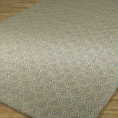 Quatrefoil Hooked Rug in Slate Gray with Cocoa pattern trimmed with Cream