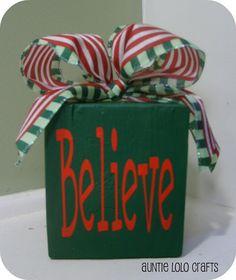 Believe Wood Block $8.00