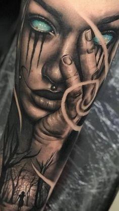 Girl Face Tattoo, Girl Arm Tattoos, Leg Tattoo Men, Leg Tattoos, Body Art Tattoos, Tribal Tattoos, Skull Sleeve Tattoos, Best Sleeve Tattoos, Tattoo Sleeve Designs