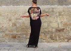 Black Elegant Party Maxi Caftan Dress with от cherryblossomsdress