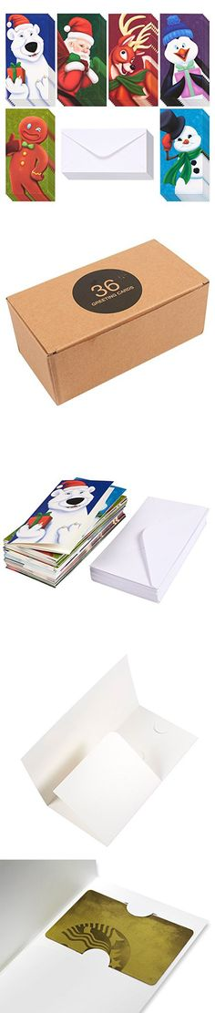 36-Pack Merry Christmas Greeting Cards - Xmas Money and Gift Card Holder Cards in 6 Christmas Character Designs - Bulk Assorted Winter Holiday Cards Box Set with Envelopes Included, 3.6 x 7.25 Inches