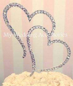 Double Heart Cake Topper Silver Wedding Engagment Anniversary Crystal Rhinestone | eBay