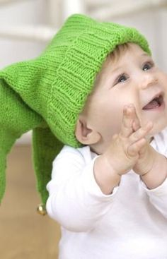 Jingle Bells Baby Hat Knitting Pattern; pattern looks to have the right number of cast on stitches for age