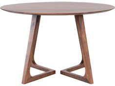 Scandinavian Designs - The Cress round dining table will nurture your inner perfectionist with its equal focus on angles and curves. The unique angled legs of this solid American walnut table balance beautifully against the beveled circular tabletop.