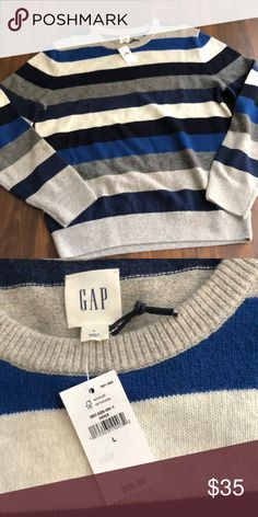 Men's gap stripe sweater new with tags large l New with tags GAP Sweaters Crewneck