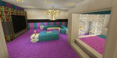 Minecraft Bedroom Pink Girl Purple Wallpaper Wall Design Canopy Bed TV
