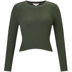 Miss Selfridge PETITE Green Crop Rib Jumper ($44) ❤ liked on Polyvore featuring tops, sweaters, olive, petite, green crop top, olive crop top, cropped sweater, army green top and olive green sweater