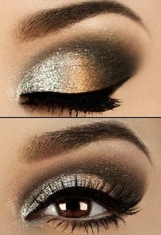 eye makeup, party, gorgeous, golden, copper, shine, shimmer, smokey look, sexy, defined, mascara, black liner, false lashes
