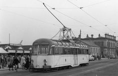 old tram with the old fleetwood railway station in back ground before being demolished Blackpool Uk, Light Rail, Buses, Trains, Old Things, British, Busses, Train