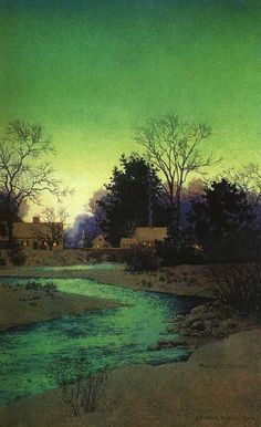 Lull Brook by Maxfield Parrish- the most amazing greens.  Love it!
